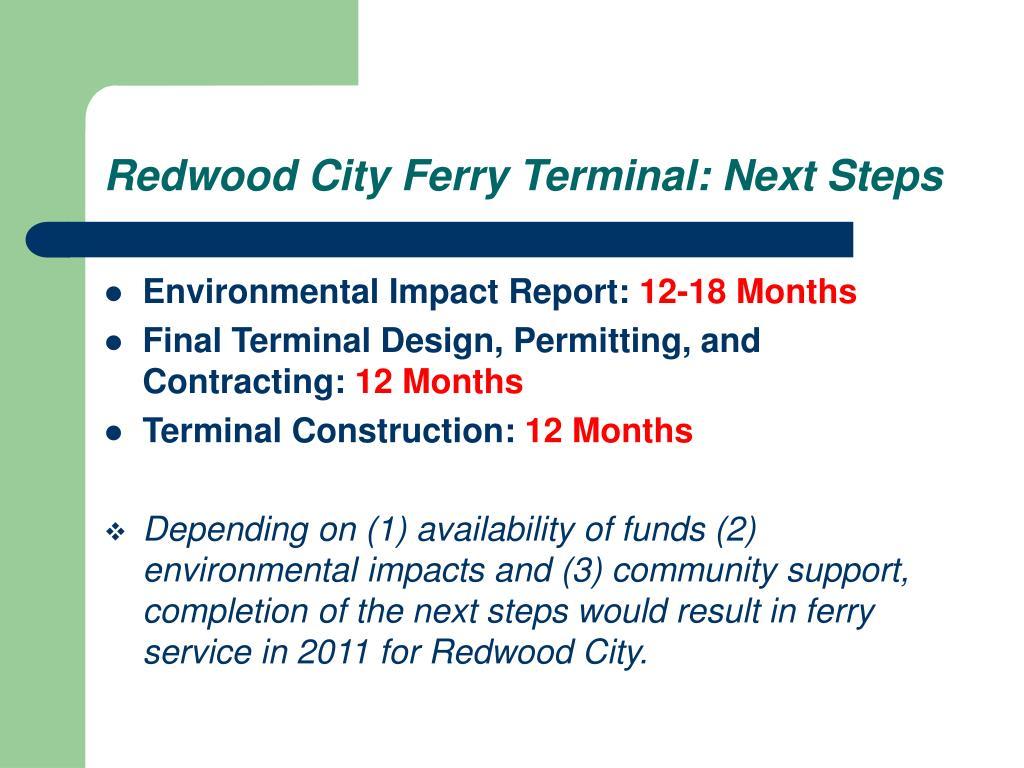 Redwood City Ferry Terminal: Next Steps