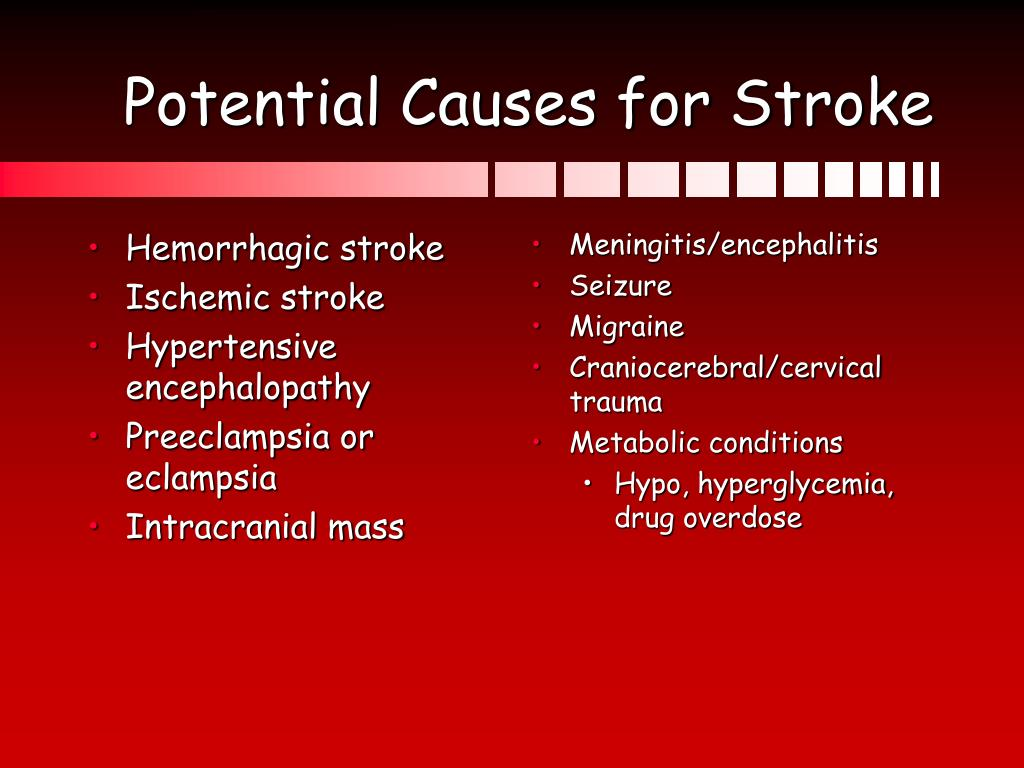 Potential Causes for Stroke
