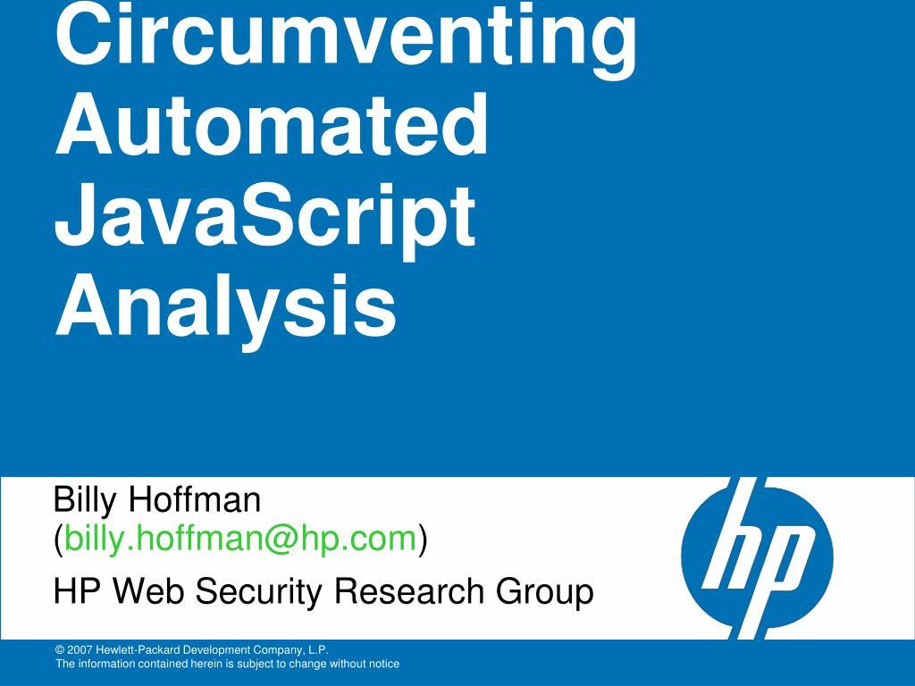 circumventing automated javascript analysis l.