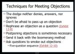 techniques for meeting objections