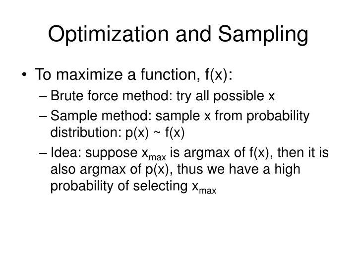 Optimization and Sampling