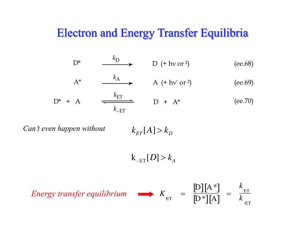 Electron and Energy Transfer Equilibria