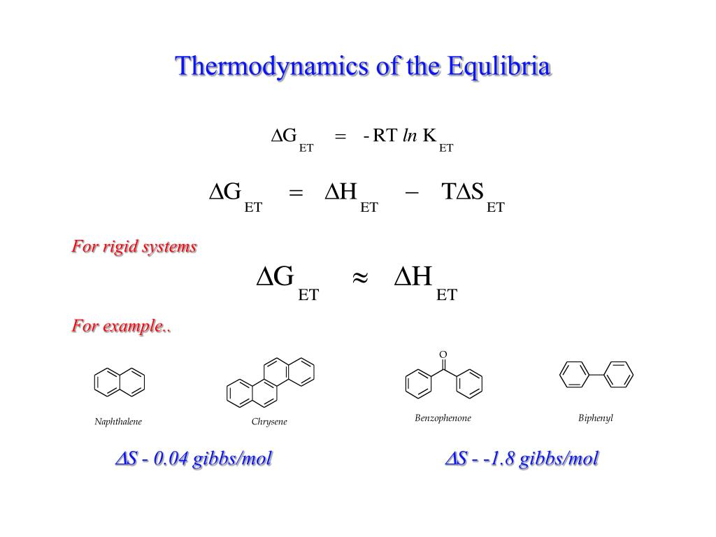 Thermodynamics of the Equlibria