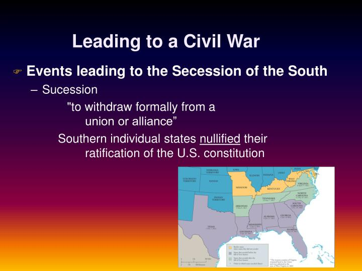 events leading to civil war This timeline briefly describes and links to narrative articles and references about many of the events and issues which historians recognize as causes of the civil war the series of events for the period from lincoln's election on november 6, 1860 through the fall of fort sumter and lincoln's call for volunteers to suppress the rebellion on the.