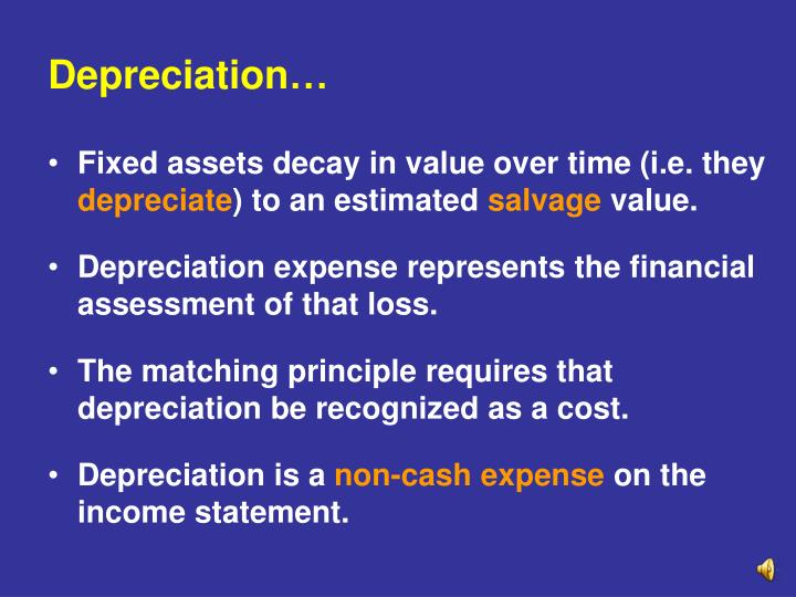 depreciation on fixed assets Depreciation is an income tax deduction that allows a taxpayer to recover the cost or other basis of certain property it is an annual allowance for the.