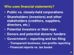 who uses financial statements