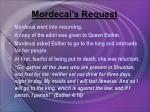 mordecai s request