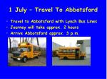 1 july travel to abbotsford