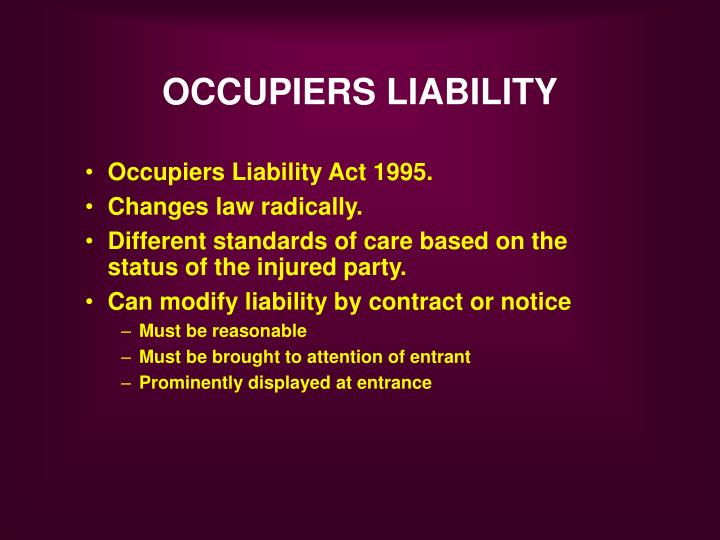 occupiers liability act 1995