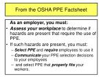 from the osha ppe factsheet10