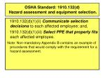 osha standard 1910 132 d hazard assessment and equipment selection