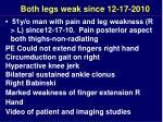 both legs weak since 12 17 2010
