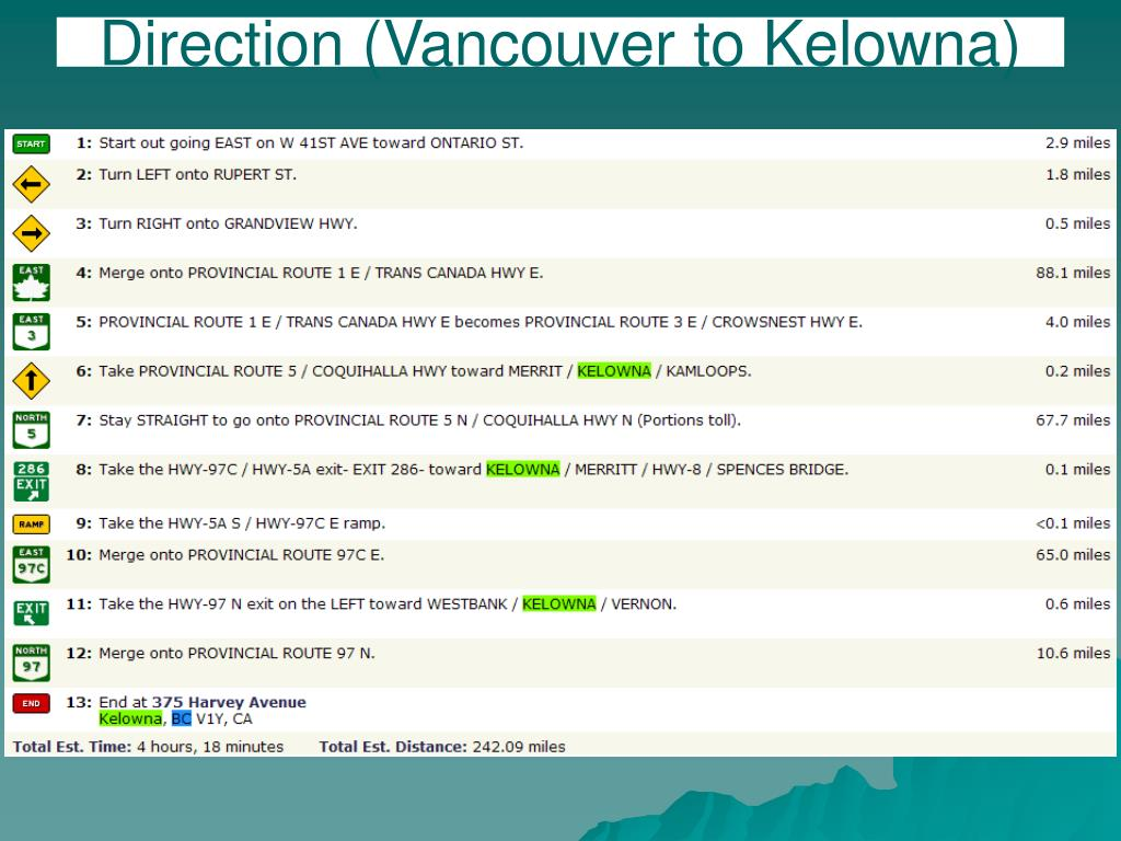 Direction (Vancouver to Kelowna)