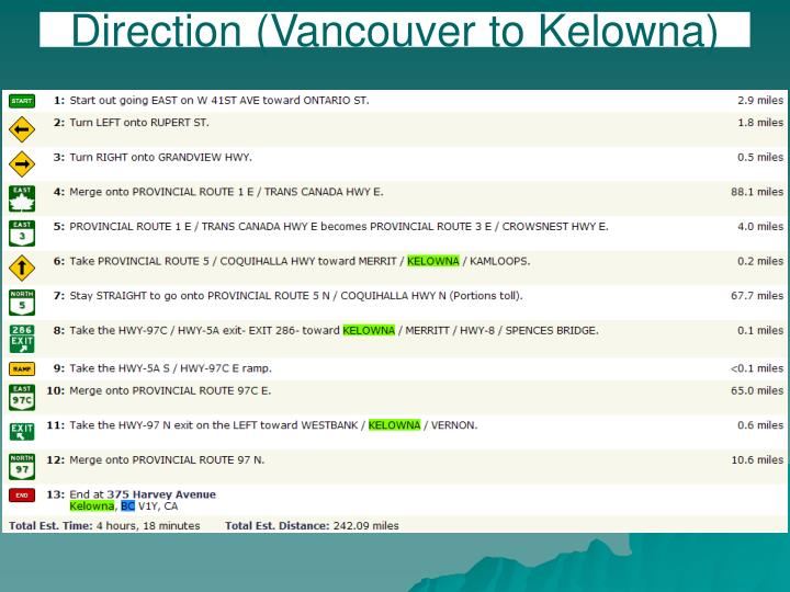 Direction vancouver to kelowna