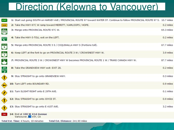 Direction (Kelowna to Vancouver)