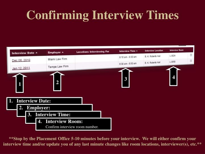 confirming interview times
