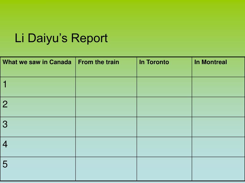 Li Daiyu's Report