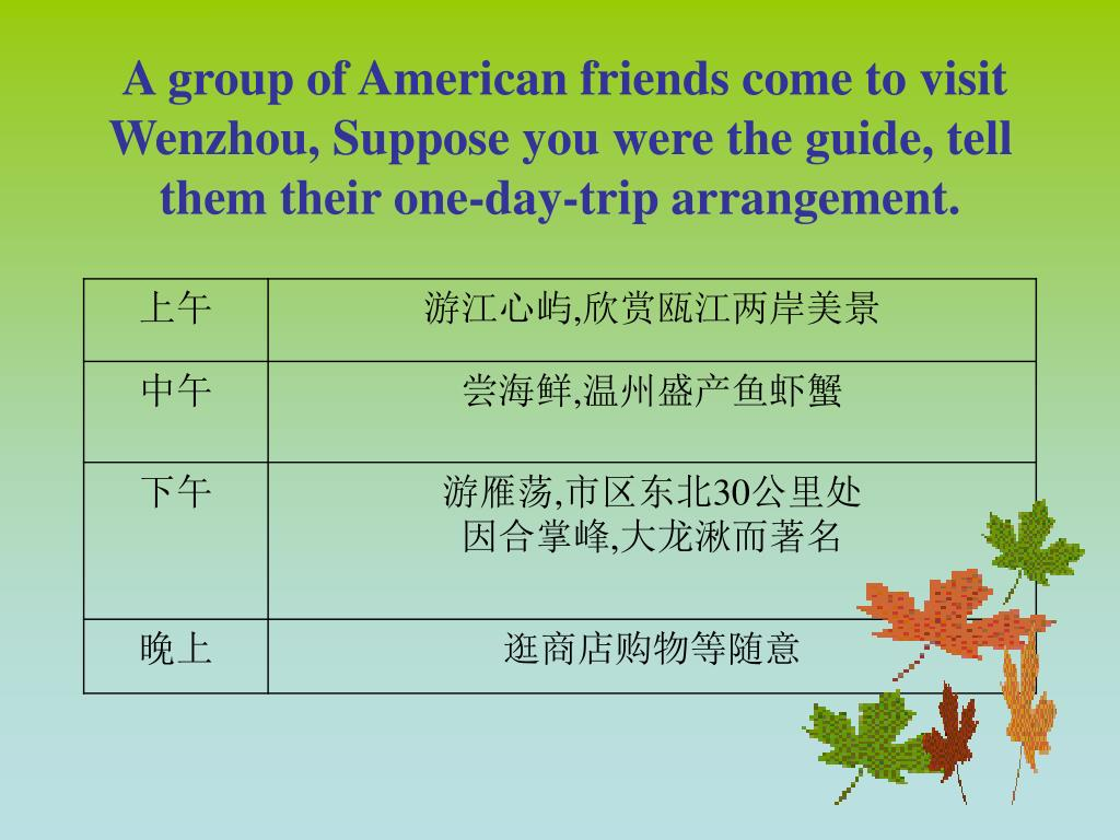 A group of American friends come to visit Wenzhou, Suppose you were the guide, tell