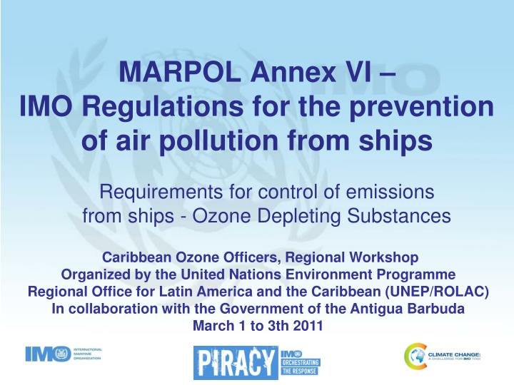 marpol annex vi imo regulations for the prevention of air pollution from ships n.