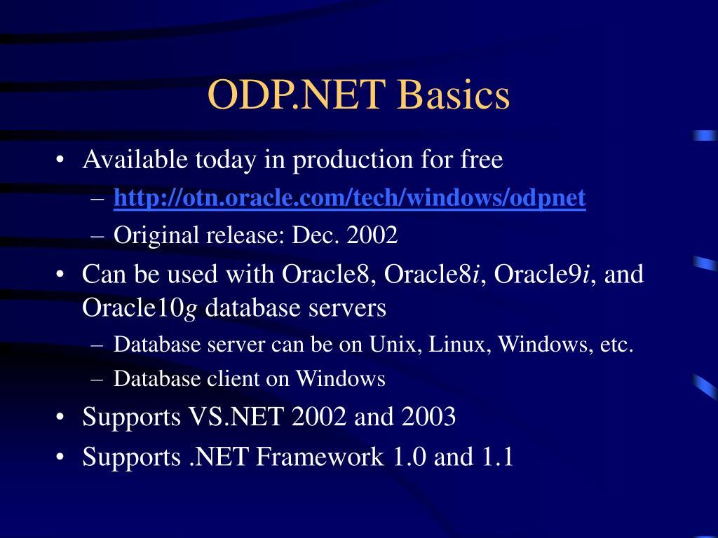ODP.NET Basics