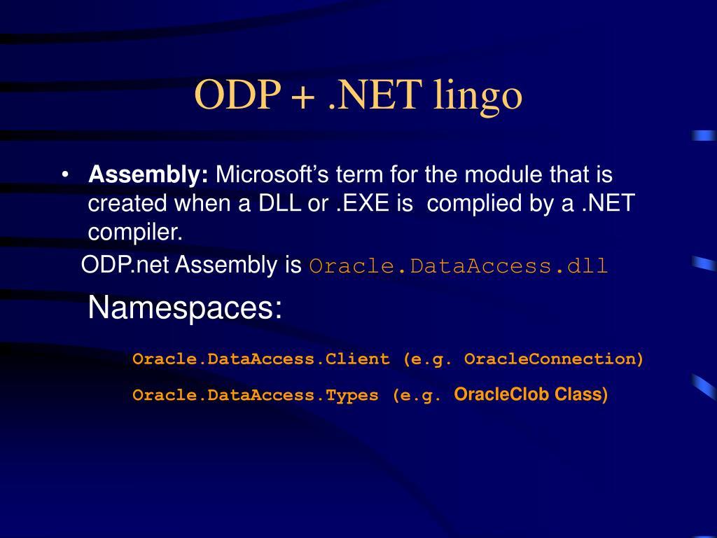 ODP + .NET lingo