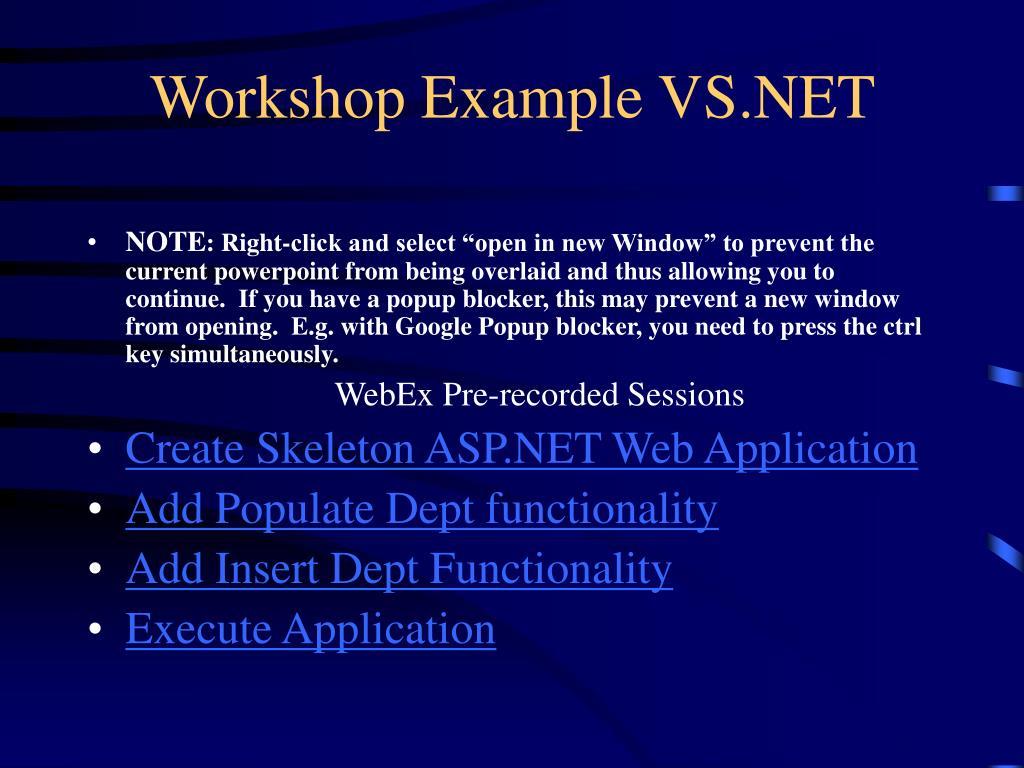 Workshop Example VS.NET