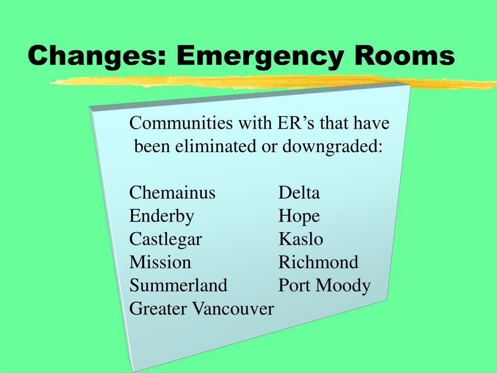 Changes: Emergency Rooms