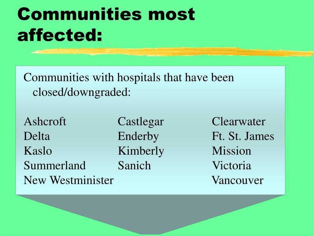 Communities most affected: