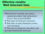 effective results wait lists wait time
