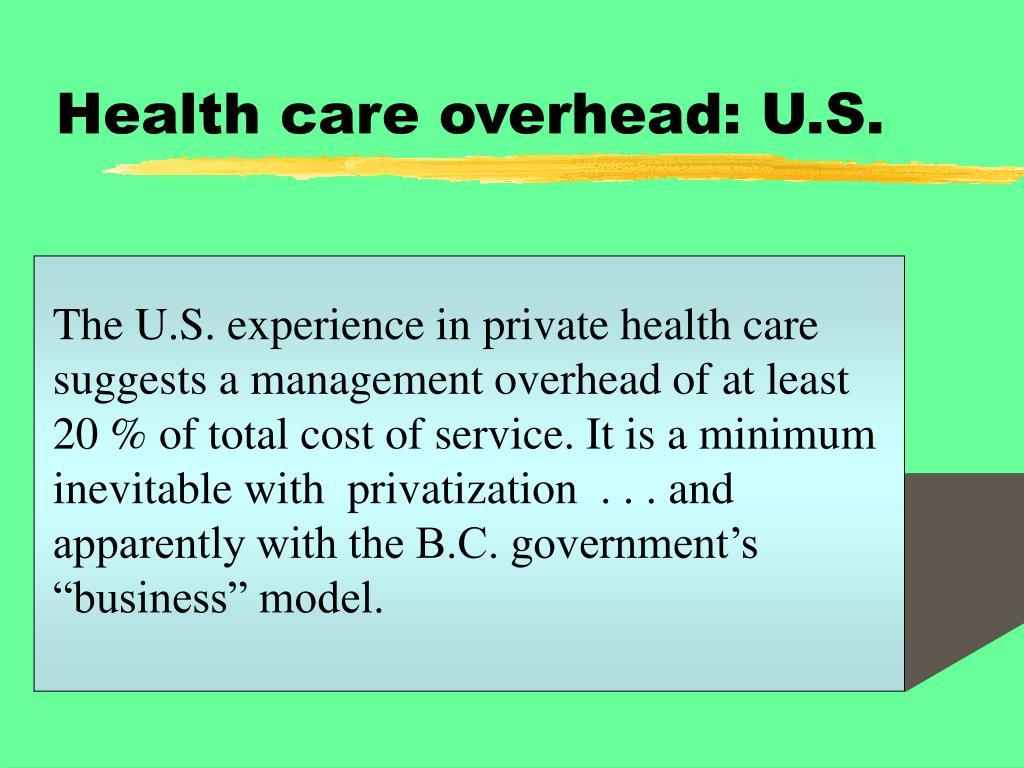 Health care overhead: U.S.