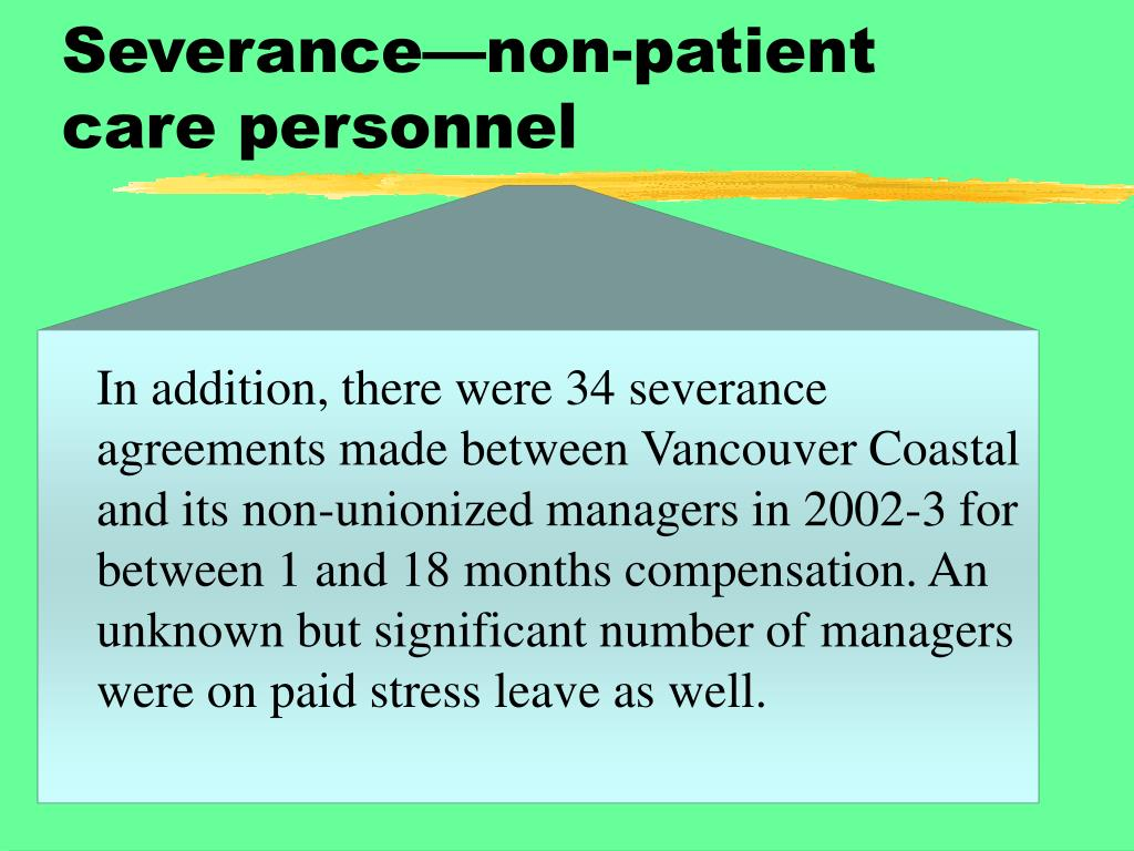 Severance—non-patient care personnel