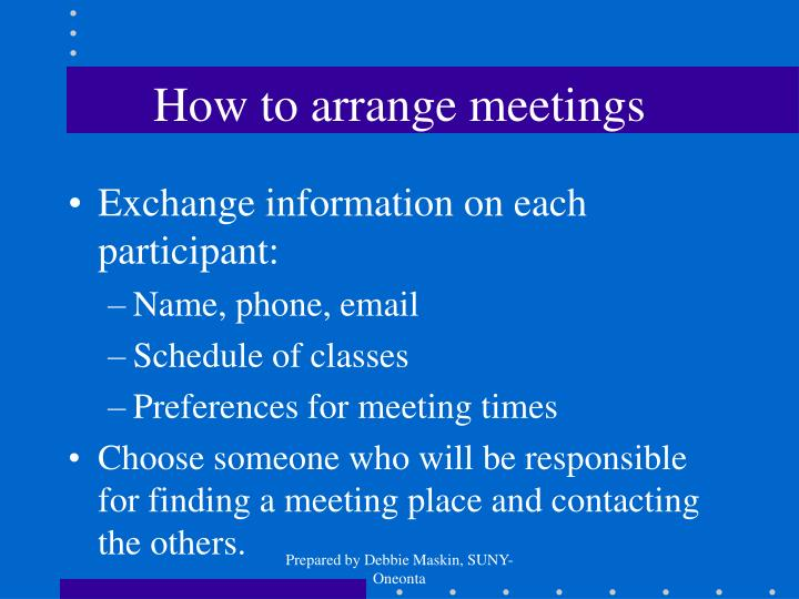 How to arrange meetings