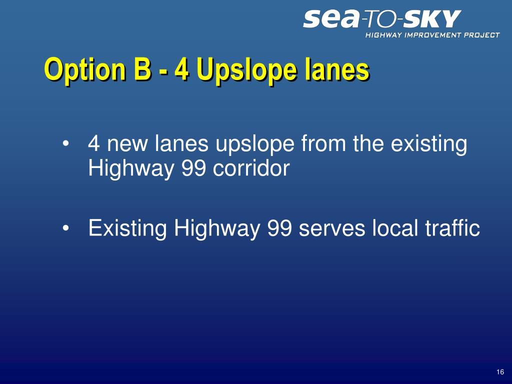 Option B - 4 Upslope lanes