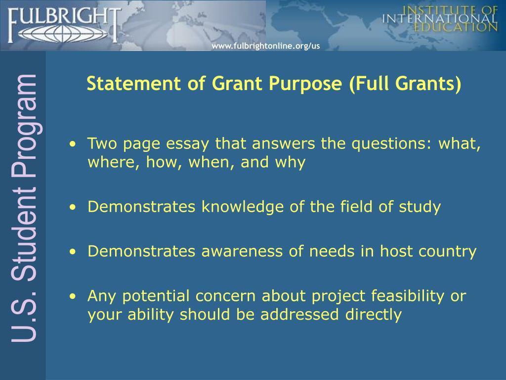 Statement of Grant Purpose (Full Grants)