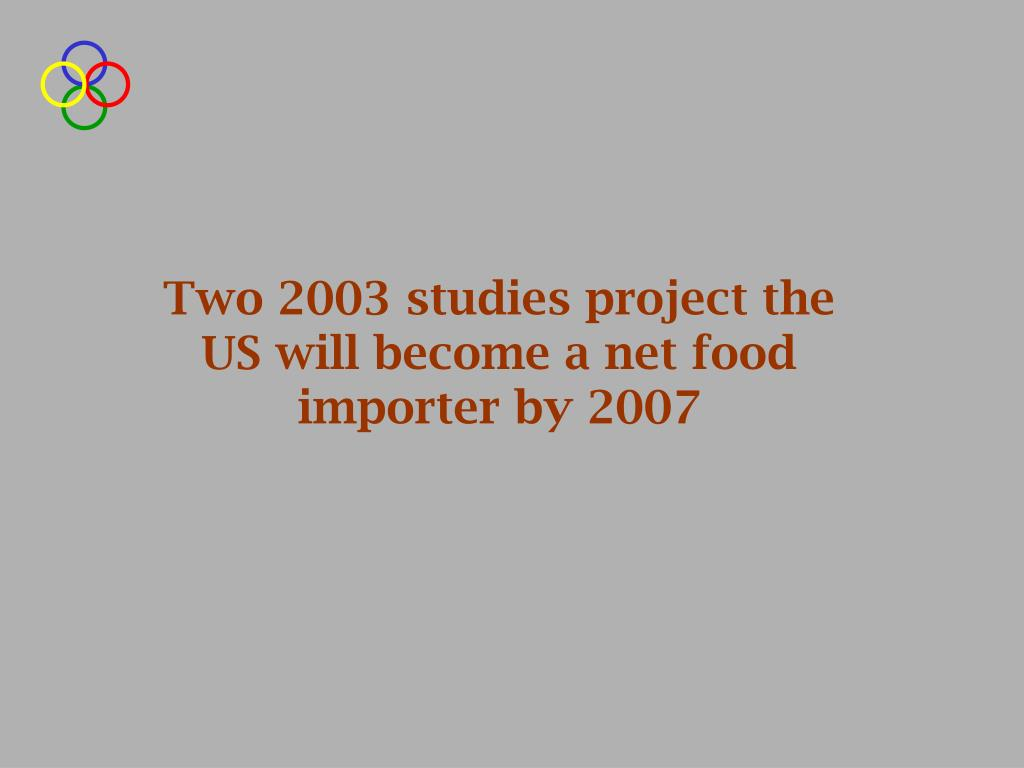 Two 2003 studies project the US will become a net food importer by 2007