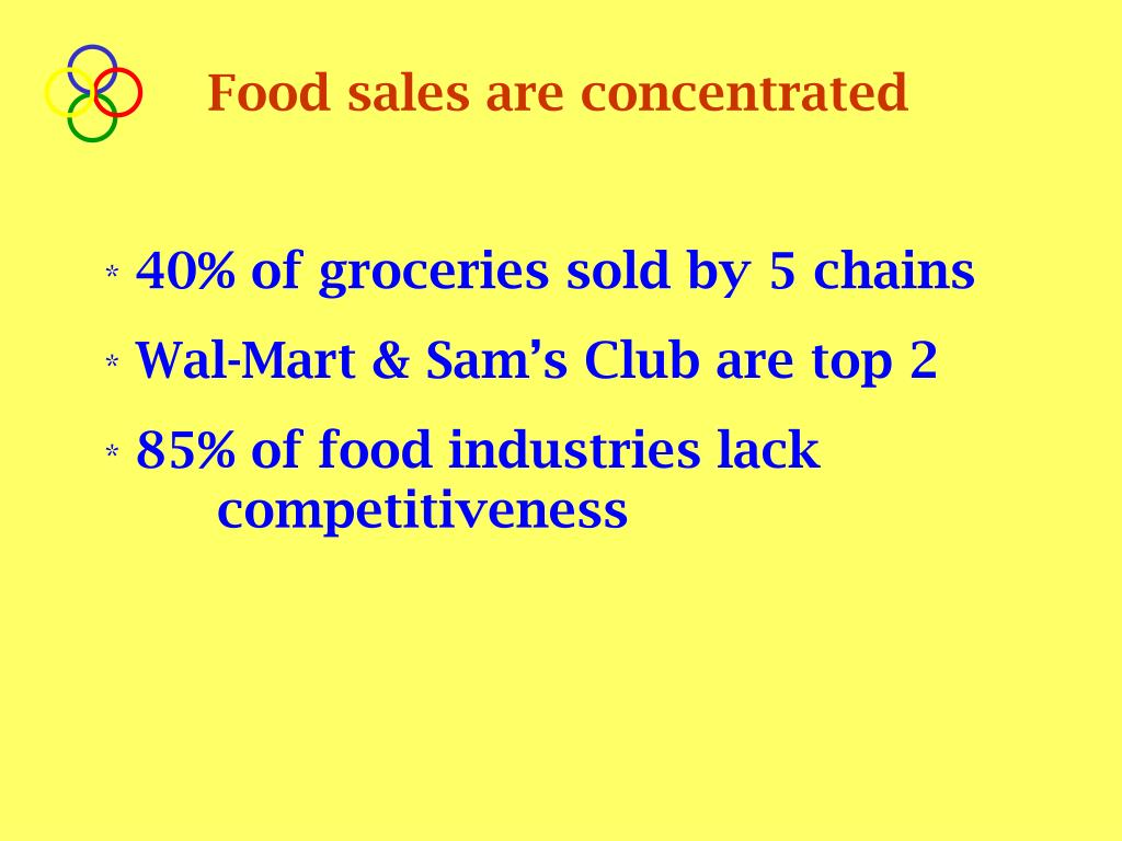 Food sales are concentrated