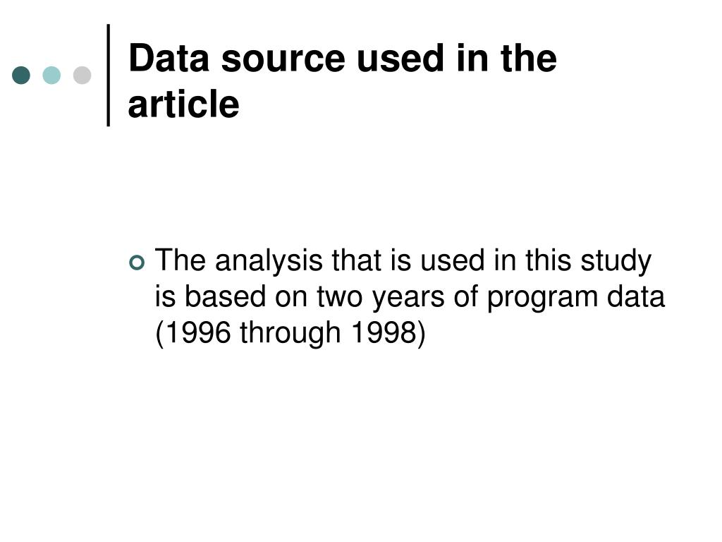Data source used in the article