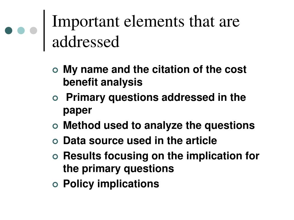 Important elements that are addressed
