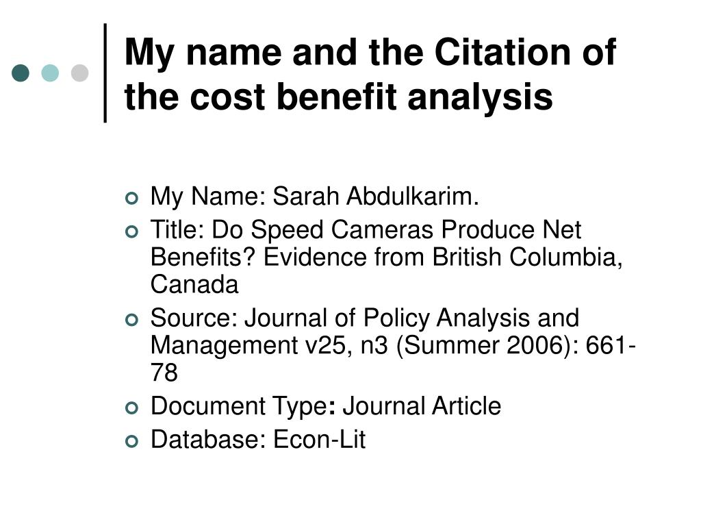My name and the Citation of the cost benefit analysis