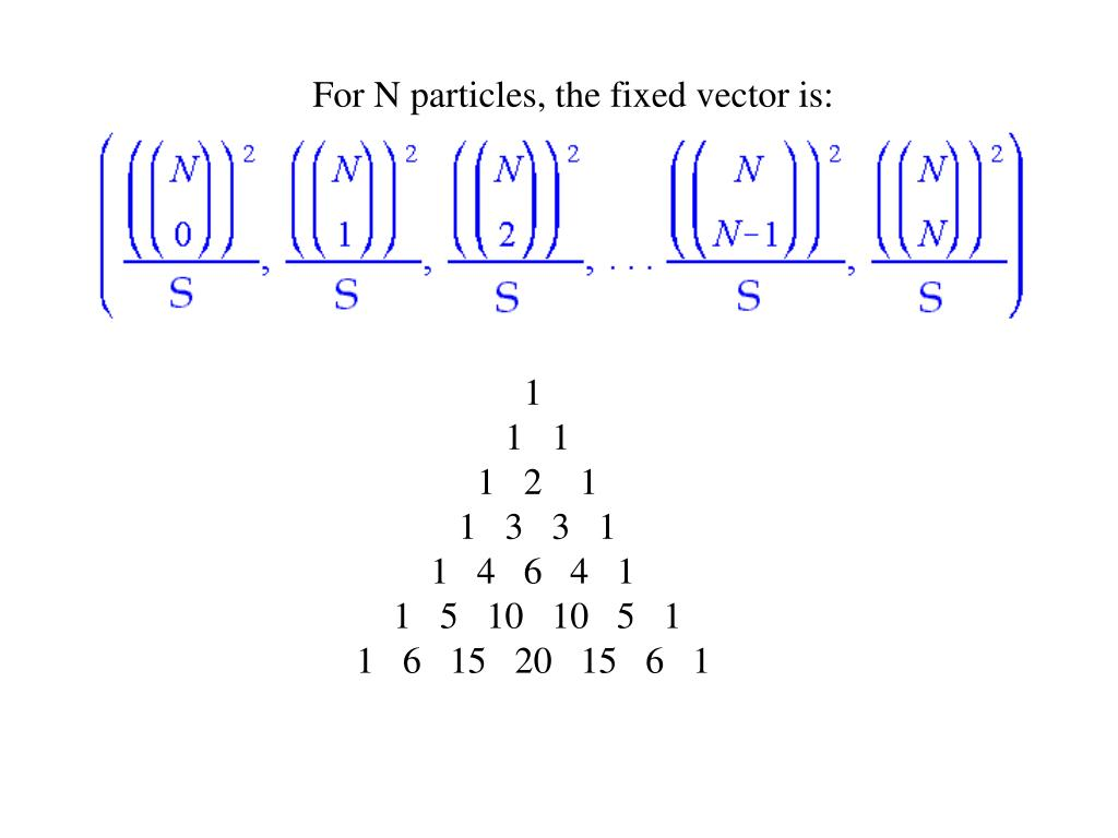 For N particles, the fixed vector is: