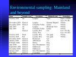 environmental sampling mainland and beyond