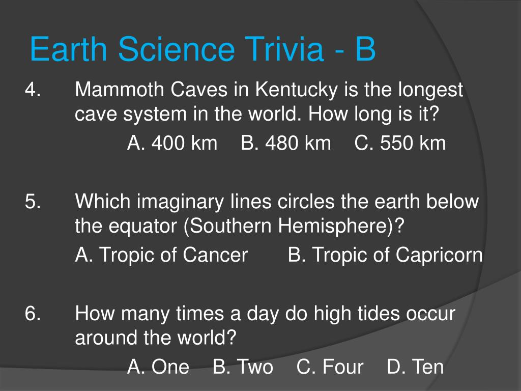 PPT - Earth Science Trivia PowerPoint Presentation - ID:725694