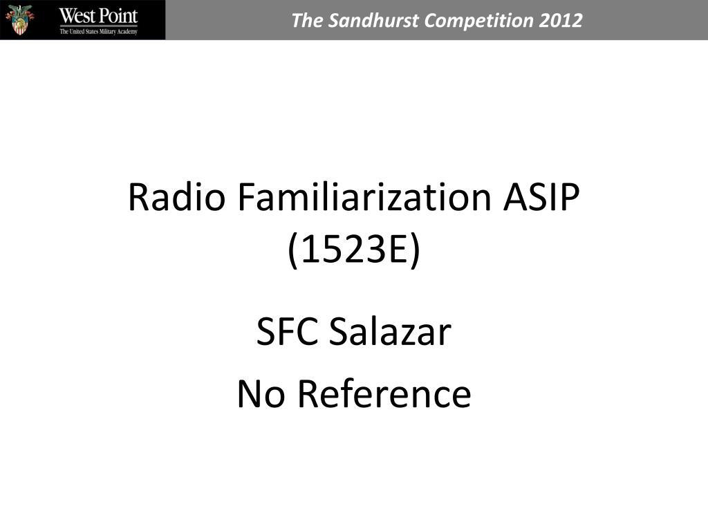 radio familiarization asip 1523e l.