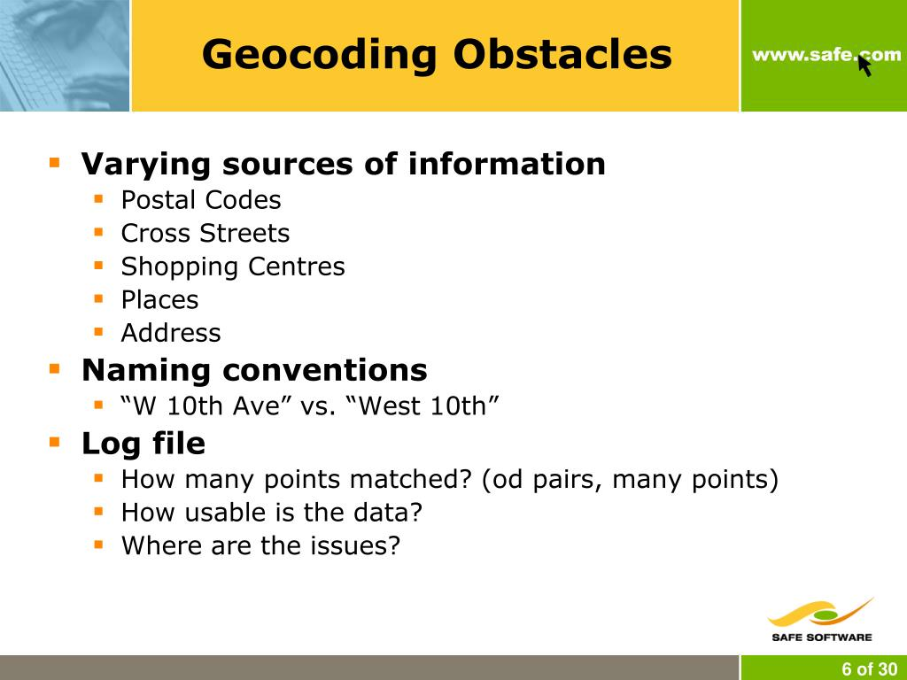 Geocoding Obstacles