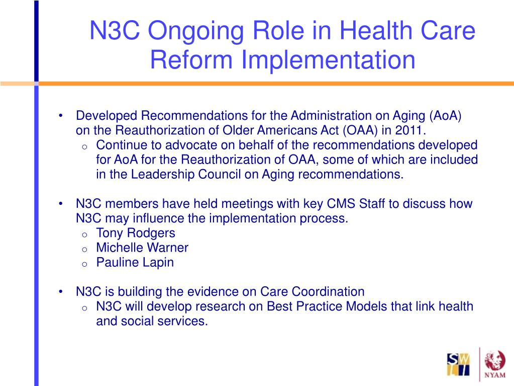 Developed Recommendations for the Administration on Aging (AoA) on the Reauthorization of Older Americans Act (OAA) in 2011.