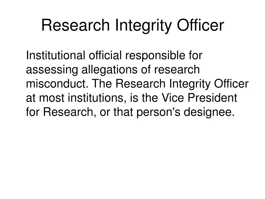 Research Integrity Officer