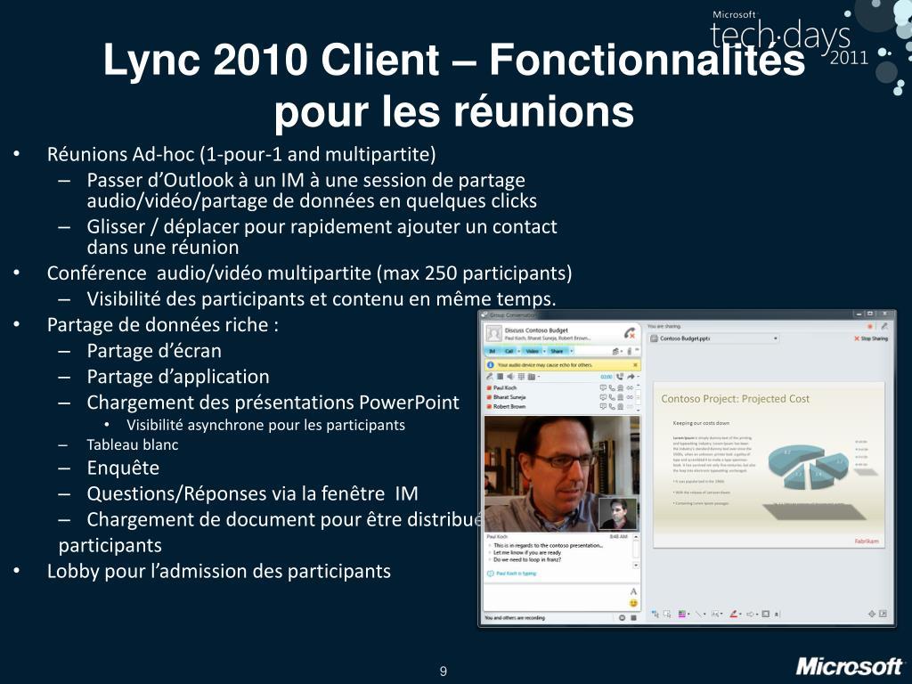 Lync 2010 Client – Fonctionnalités pour les réunions