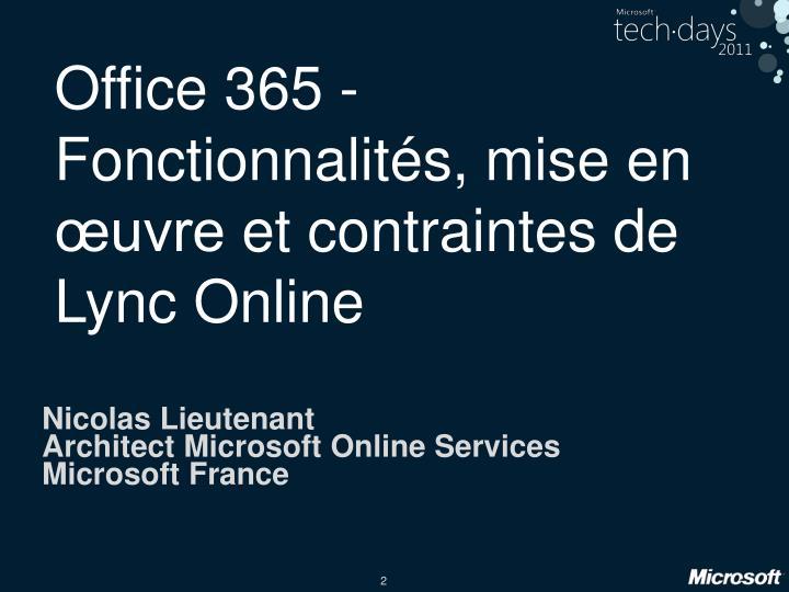 Office 365 fonctionnalit s mise en uvre et contraintes de lync online