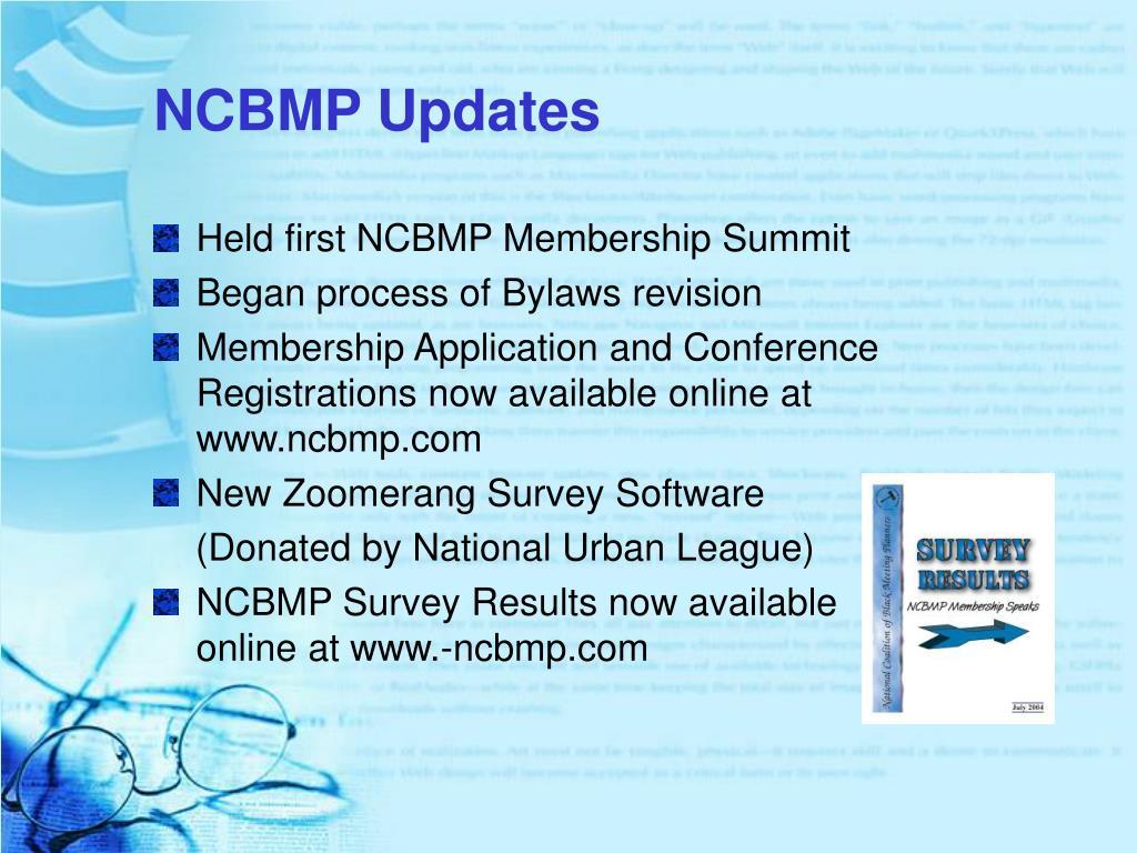 NCBMP Updates