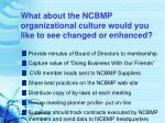 what about the ncbmp organizational culture would you like to see changed or enhanced